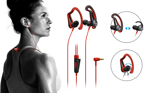 In-Ear Clip Bluetooth Sports Headphones, Smartphone Inline Remote, Sprayproof to IPX4